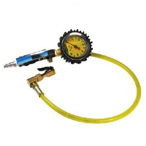 Power Tank Tire Inflator Gauge - HD 60 PSI Clip-On Chuck