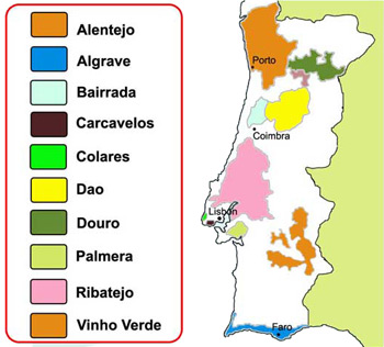 Map of Portugal Wine Producing Areas
