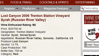 Lost Canyon 206 Syrah is selling for $35.00 online.