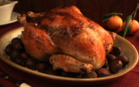 A castrated Rooster Ouwie! Rub a defrosted capon. great with Lockwood Pinot Noir