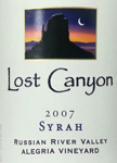 Syrah, 2007. Lost Canyon
