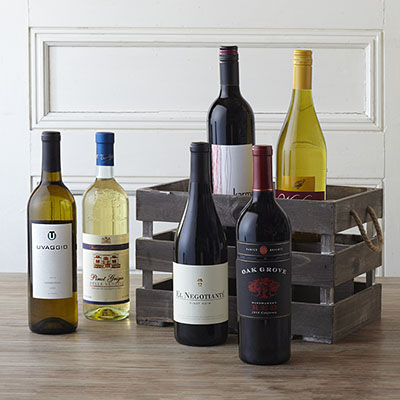 6 Bottle Rustic Crate Wine Gift Basket - Classic Series