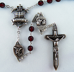 The Warrior's  Rosary in 6mm Bohemian Red Glass (Antique Silver Finish)