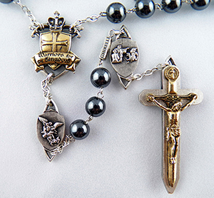 The Warrior Rosary in 8mm Hematite (Antique Gold on Silver finish on Crucifix and Centerpiece)