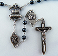 The Warrior Rosary in 6mm Hematite<br> (Antique Silver Finish)<br>