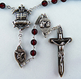 The Warrior's  Rosary in 6mm Bohemian Red Glass <br>(Antique Silver Finish)<br>