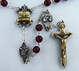 The Warrior Rosary in 8mm Bohemian Red Glass <br>(Antique Gold on Silver finish on Crucifix and Centerpiece)<br>