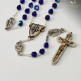 The Warrior's  Rosary for Women  - 7mm Blue Bohemian Glass Facete beads with Aurora Borealis effect. Crucifix and centerpiece are a two tone antique gold and silver finish 