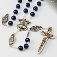 8MM semiprecious stone Lapis Lazuli Fatima 100TH anniversary rosary - Antique Silver and two tone Crucifix and centerpiece
