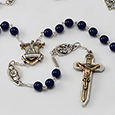 Fatima Rosary 8mm Deep Lapis Blue solid Bohemian Glass