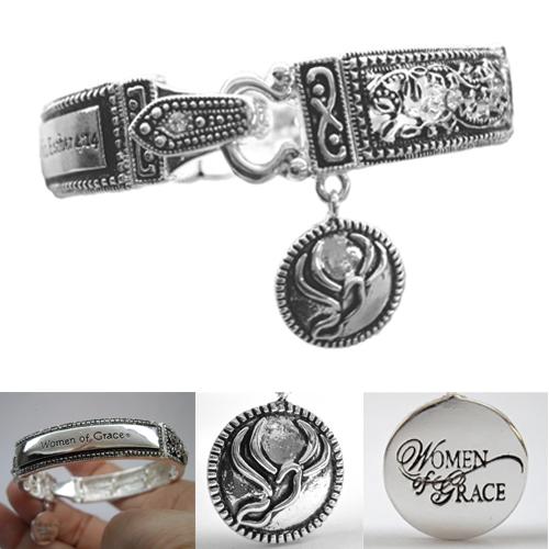 "Women of Grace Scripture Bracelet -  Measures 8.0"""