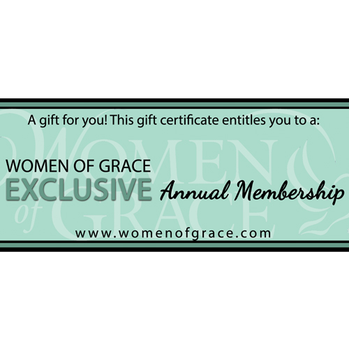 Gift Certificate for Annual Membership to Women of Grace Exclusive