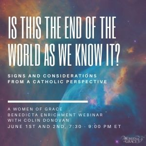 Is This the End of the World As We Know It? Signs and Considerations from a Catholic Perspective   A Benedicta Enrichment Enrichment Webinar with Colin Donovan  June 1st and 2nd at 7:30 - 9:00 PM ET