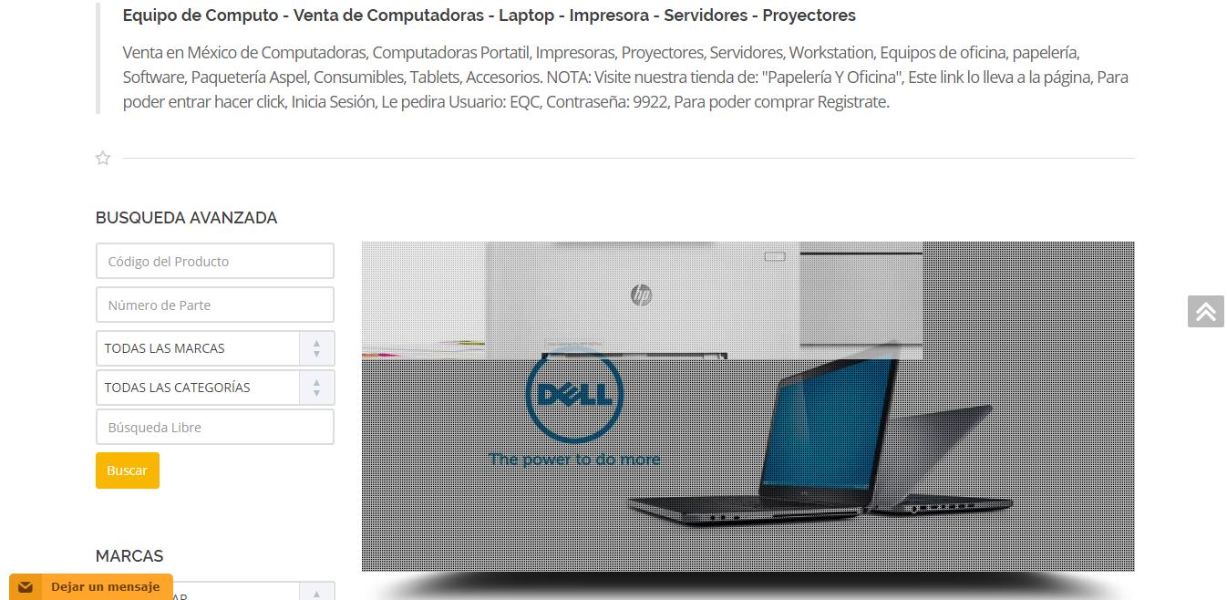 Equipo de Cómputo es una empresa está dedicada a la venta de productos como PCs de escritorio, laptops, proyectores, servidores, impresoras, entre otros.