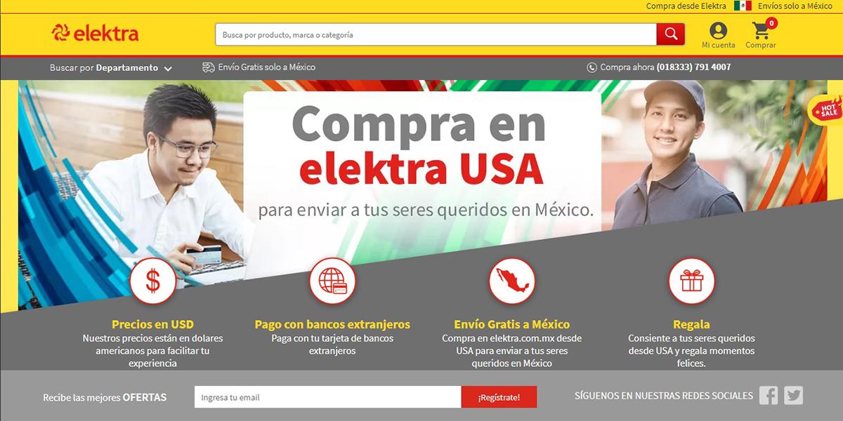 Elektra lanza tienda en línea Elektra USA para mexicanos en el vecino país