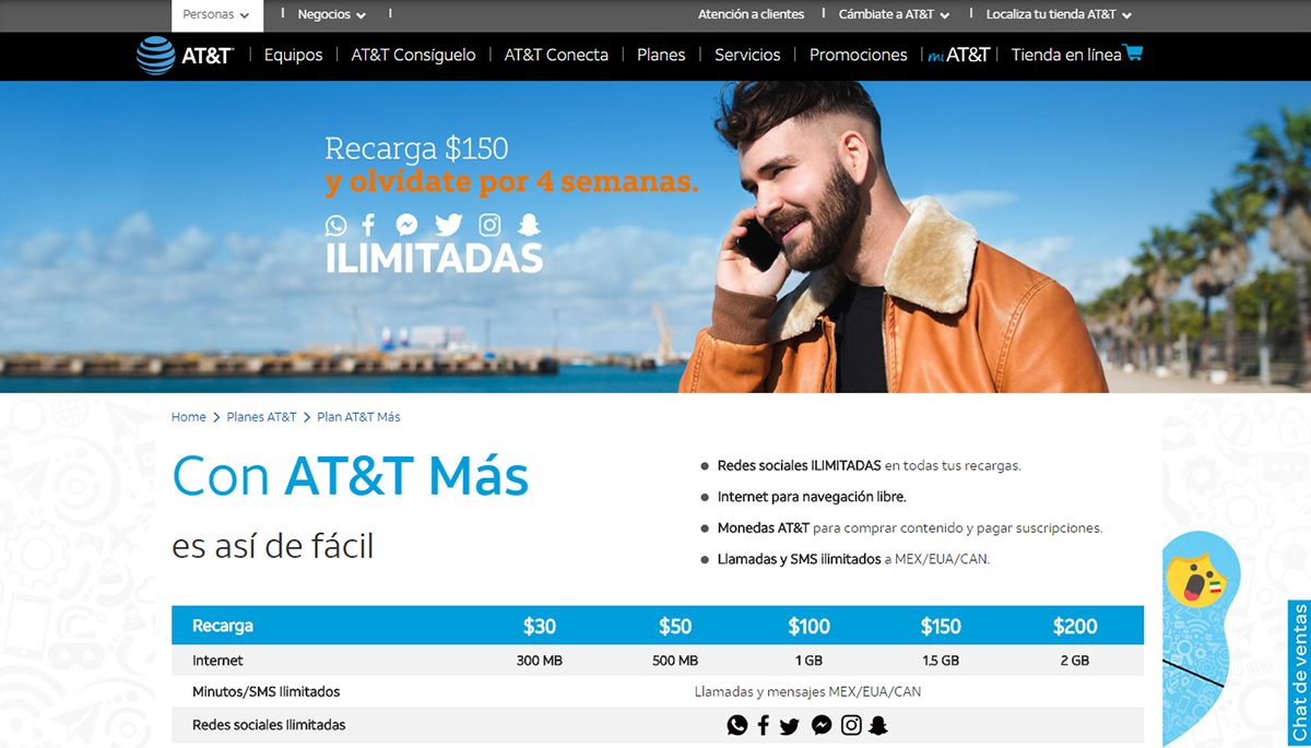 AT&T ofrecerá redes sociales ilimitadas en prepago