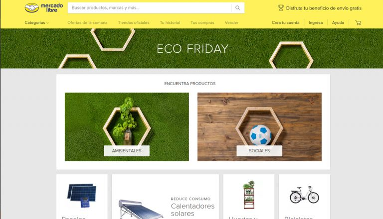 Mercado Libre lanza EcoFriday, con artículos con buen impacto ambiental