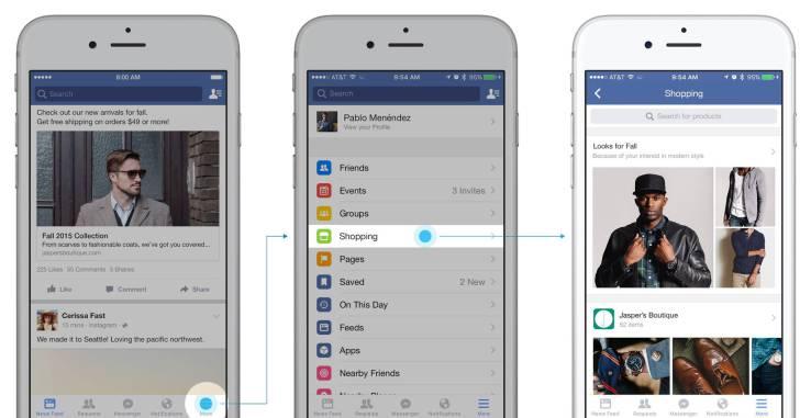 El nuevo feed de compras en Facebook, a prueba. Fuente TechCrunch