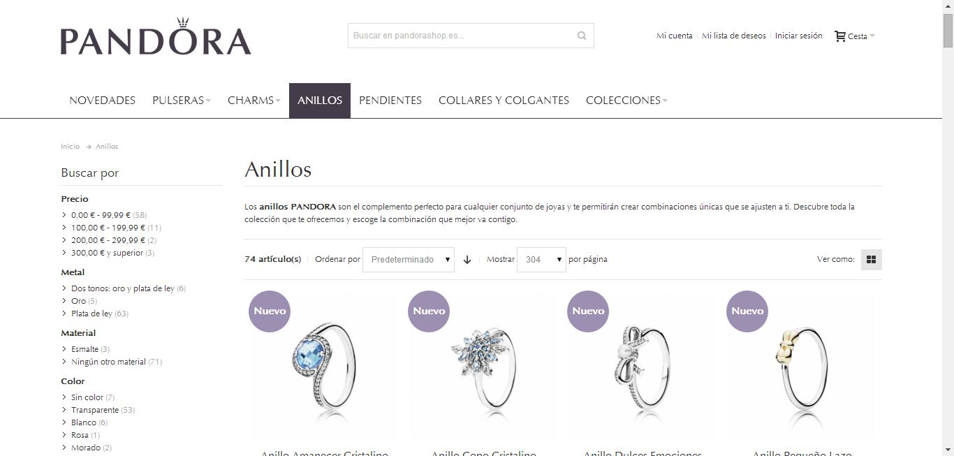 pandorashop, tienda de joyas Pandora online