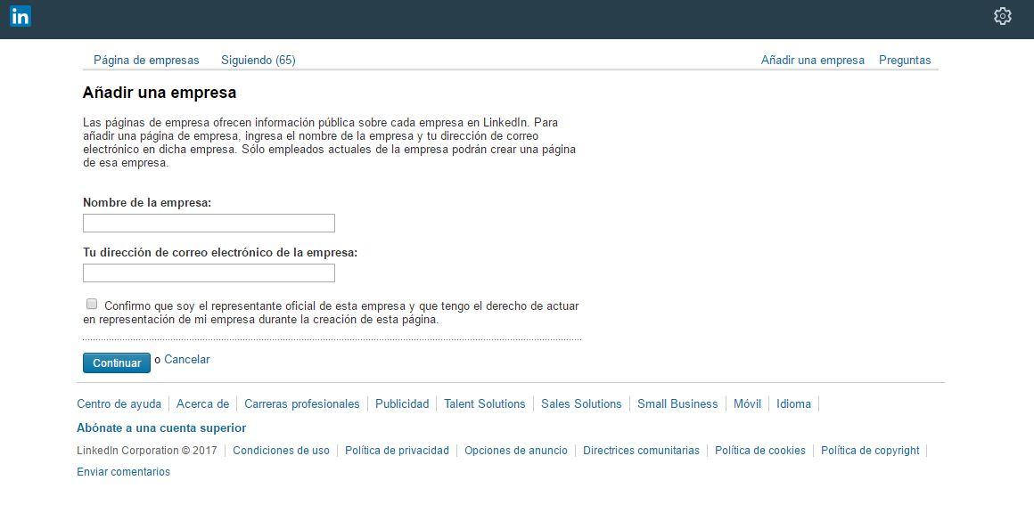 crear una página de empresa en Linkedin 3