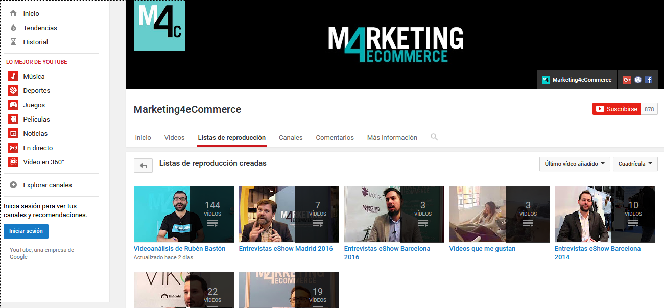 Lista de reproducción de Marketing4eCommerce.