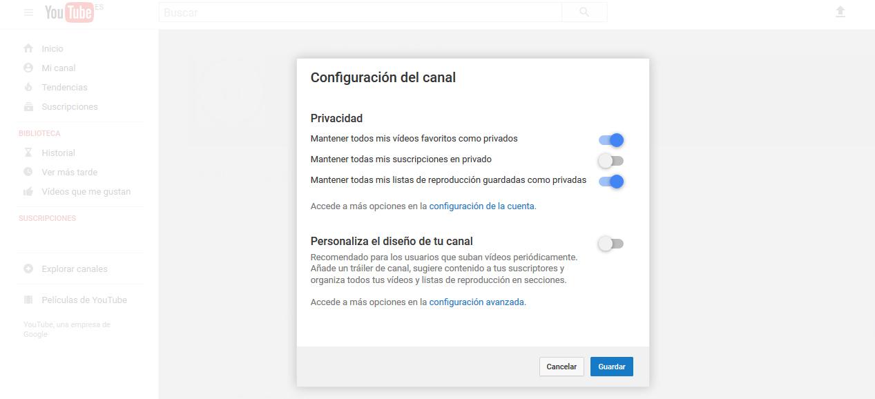 Configuración del canal de YouTube.