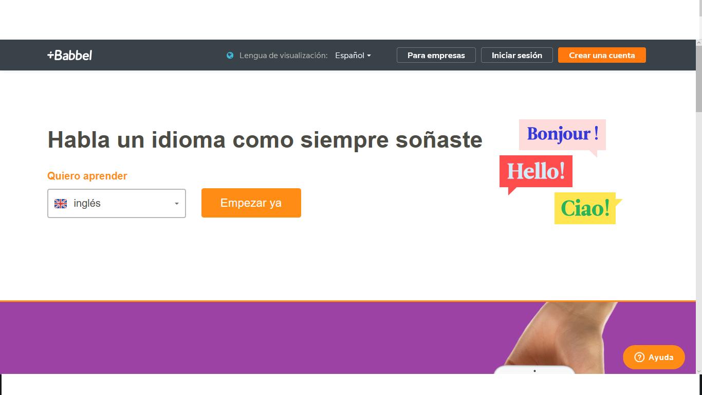 portal Babbel para idiomas