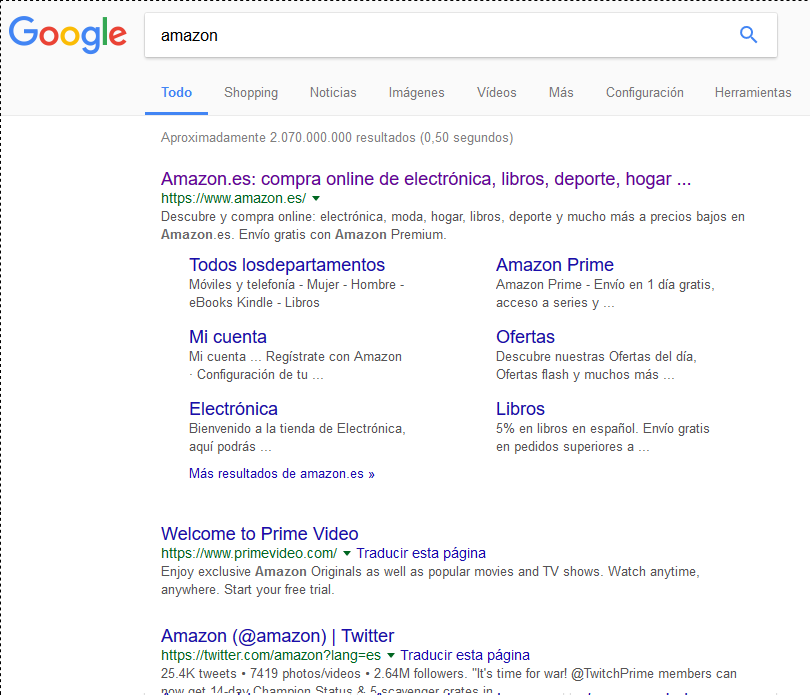 En la búsqueda de Amazon el tercer resultado es su Twitter.