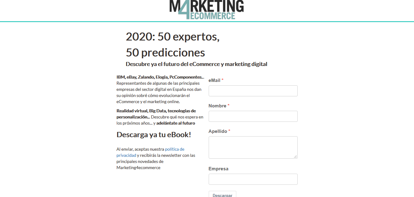 Landing page de Marketing4eCommerce