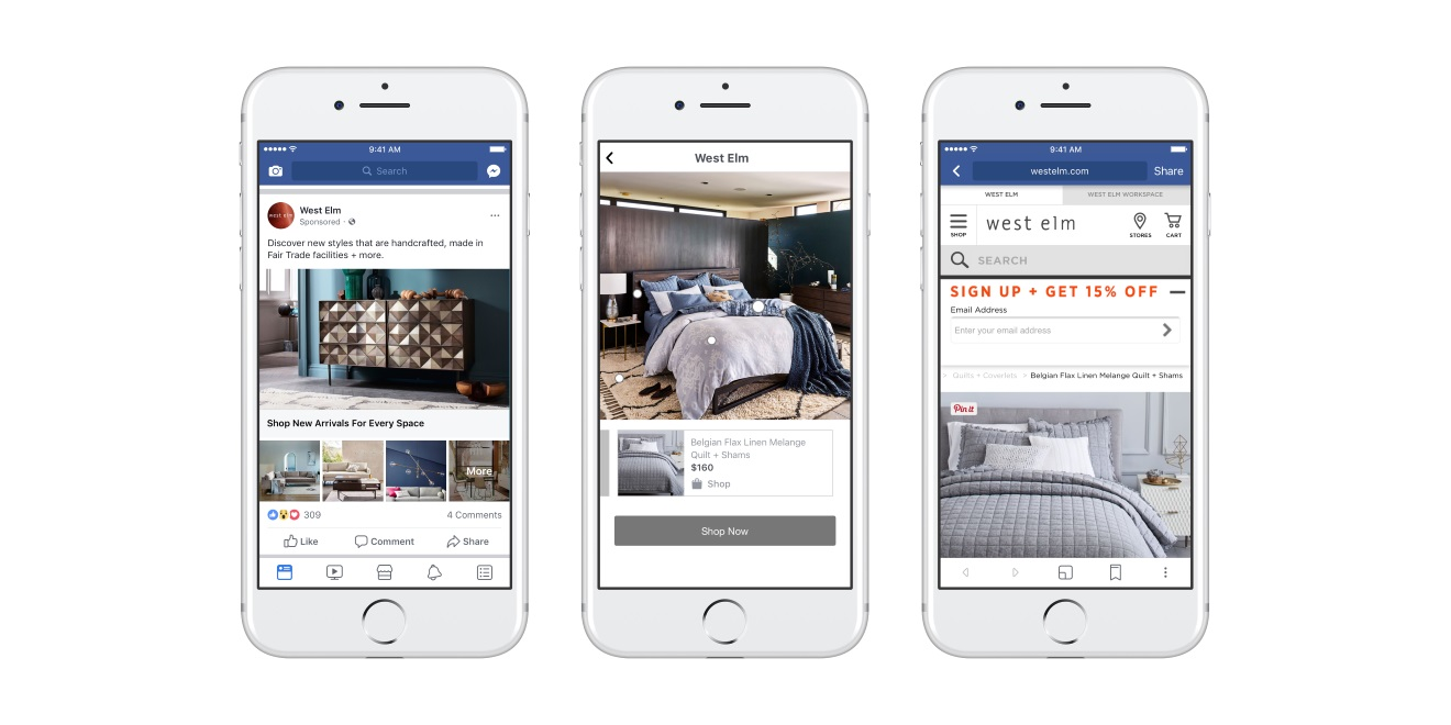 El nuevo formato de Facebook Collection integra catálogos con visualización interactiva