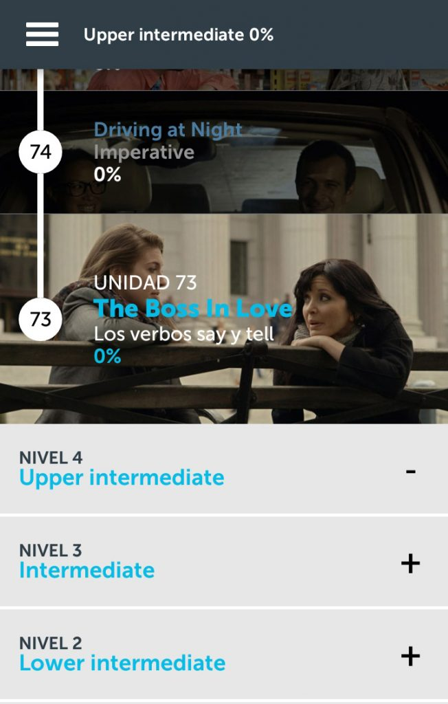 Pantallazo de la app ABA English.