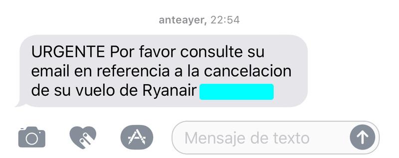 SMS de Ryanair avisando de cancelación de vuelo