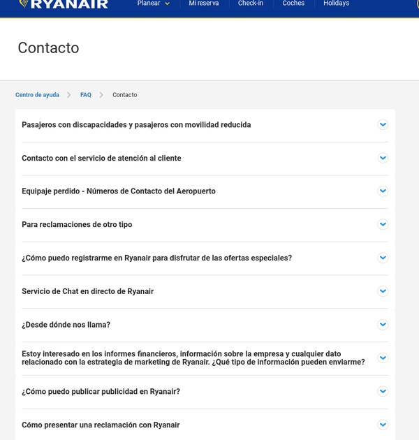 Opciones de contacto genéricas de Ryanair