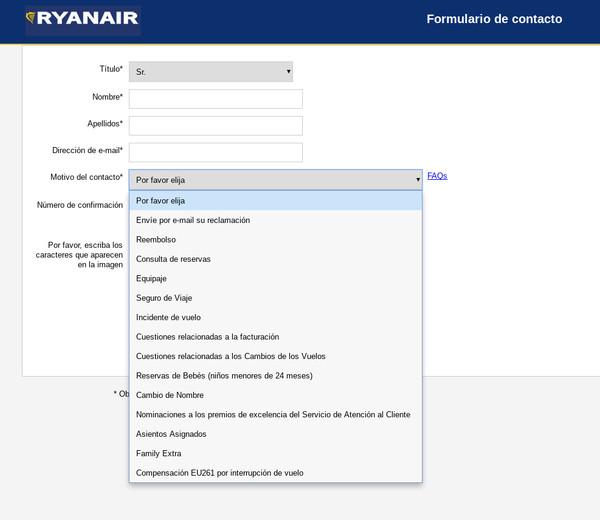 Opciones del formulario de Ryanair
