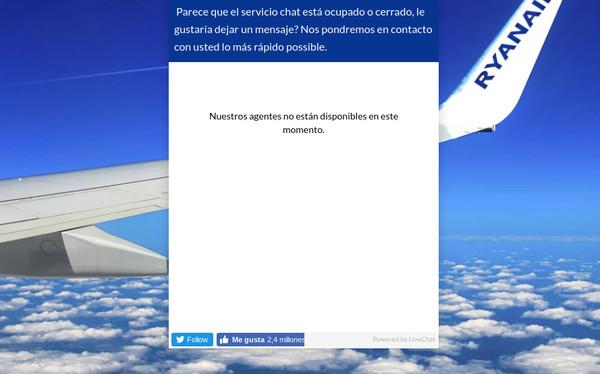 El chat de Ryanair no funciona