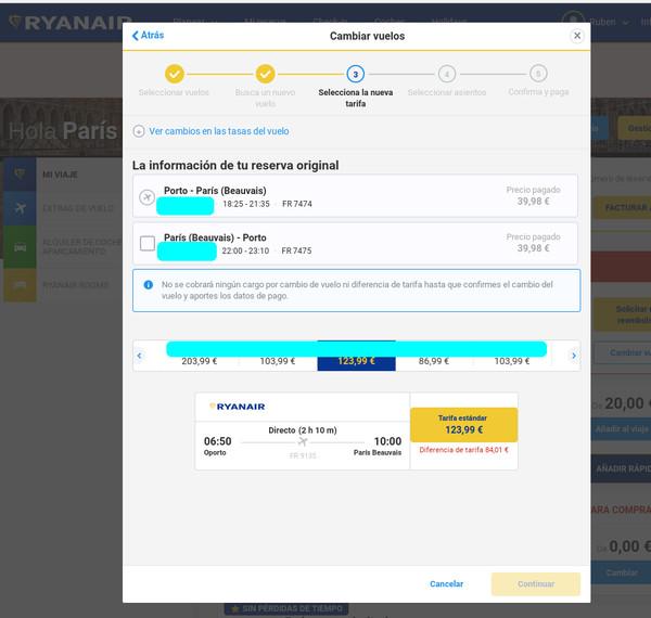 Primeros pasos de cambio de vuelo en Ryanair