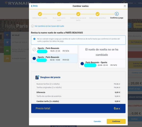 Último paso para el cambio de vuelo de Ryanair
