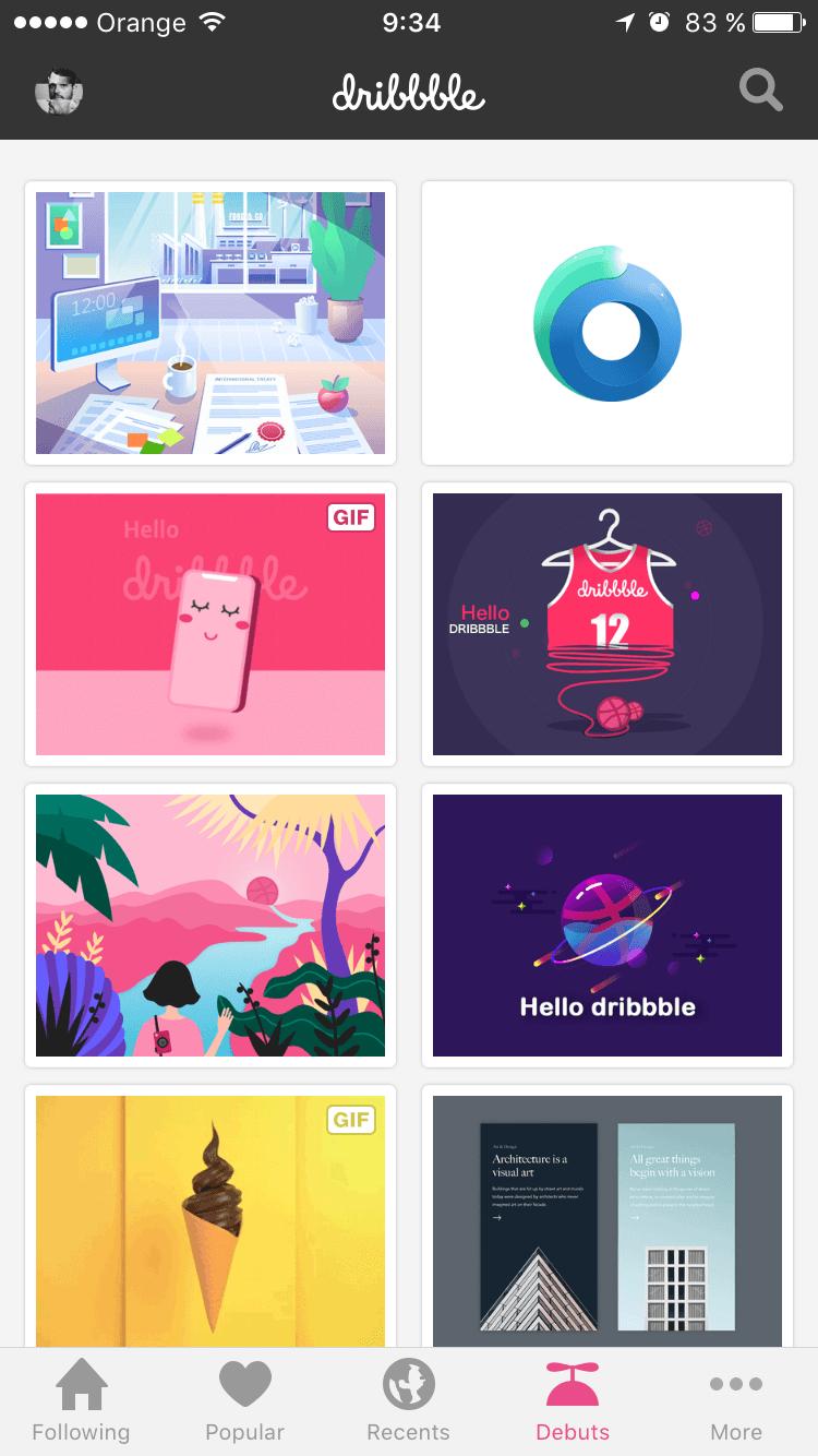 App de dribbble