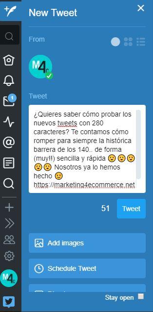 cómo escribir tuits en 280 caracteres