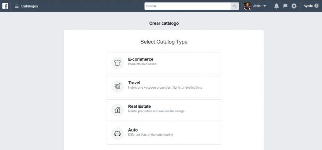Página principal de Facebook Catalog Manager cuando accedes desde cuenta personal
