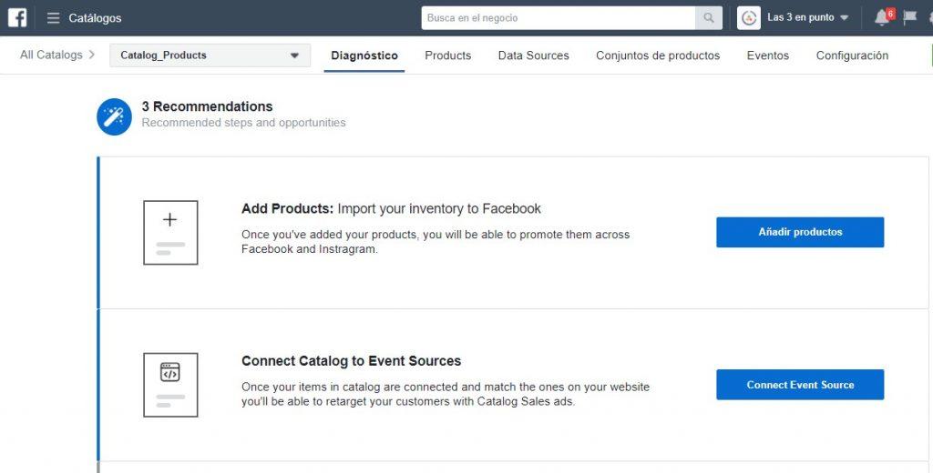 Herramienta de importación de productos en Facebook Catalog Manager