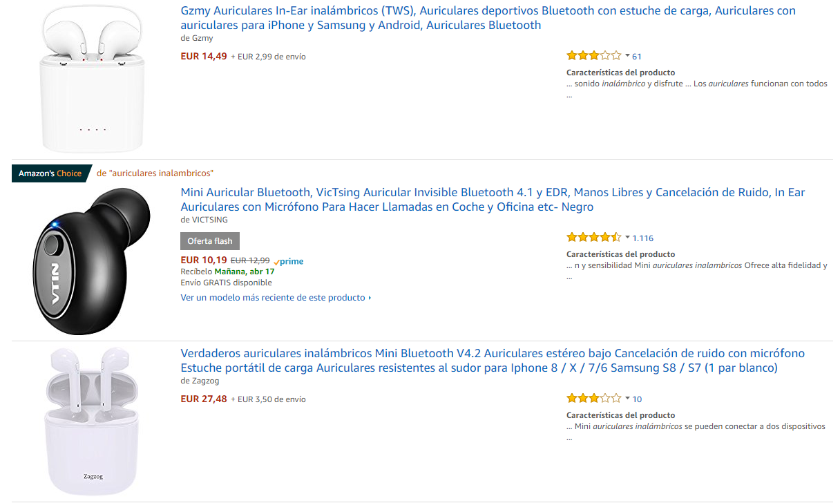 Amazon's choice 1 auriculares