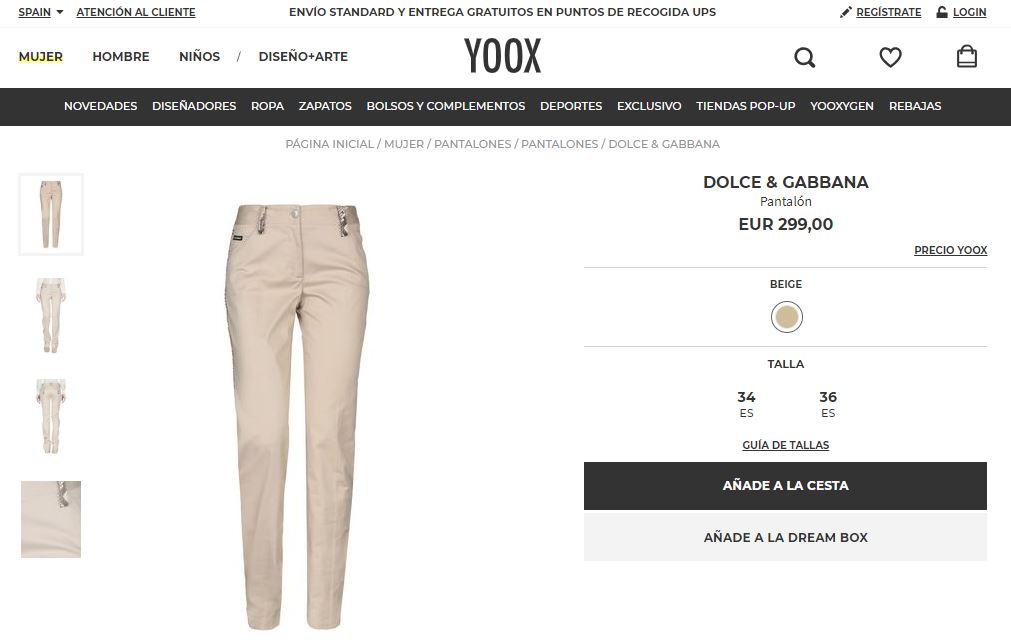yoox ficha de producto