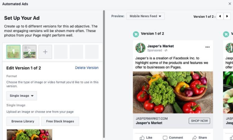 Facebook lanza un editor de anuncios automatizados para pequeñas empresas