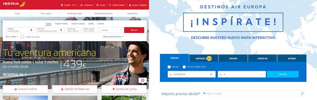 Webs de Iberia y Air Europa