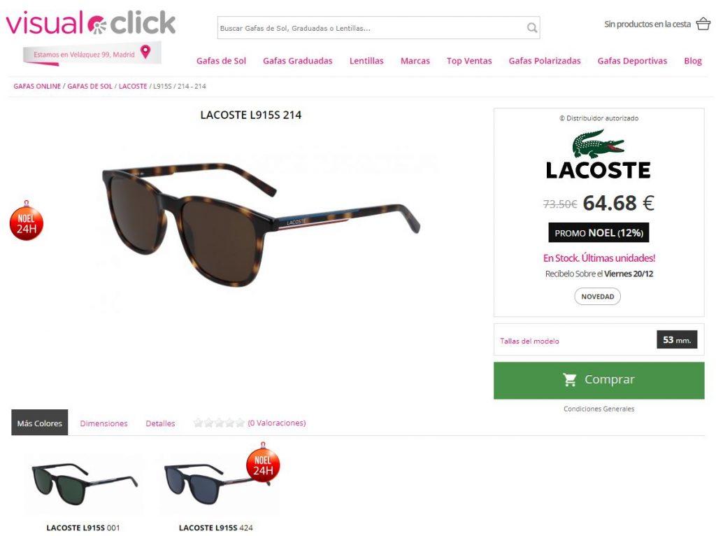 Ficha de producto en la tienda online de Visual Click
