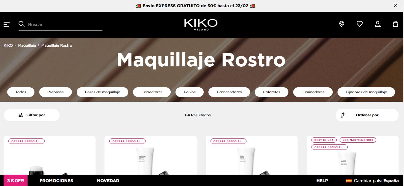 sección maquillaje Kiko Milano