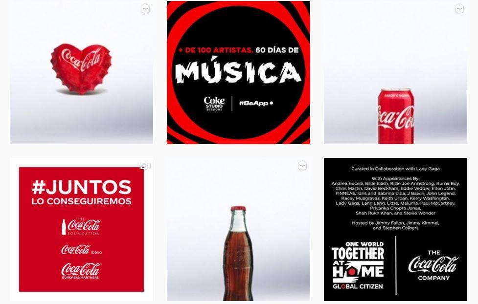 Distintos tipos de contenido en el feed de Instagram de Coca Cola España
