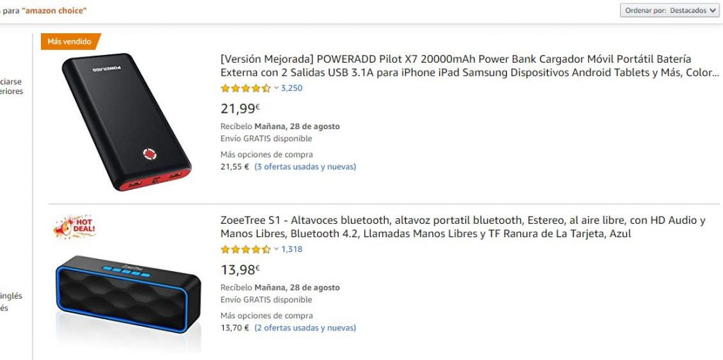 Productos Amazon Choice