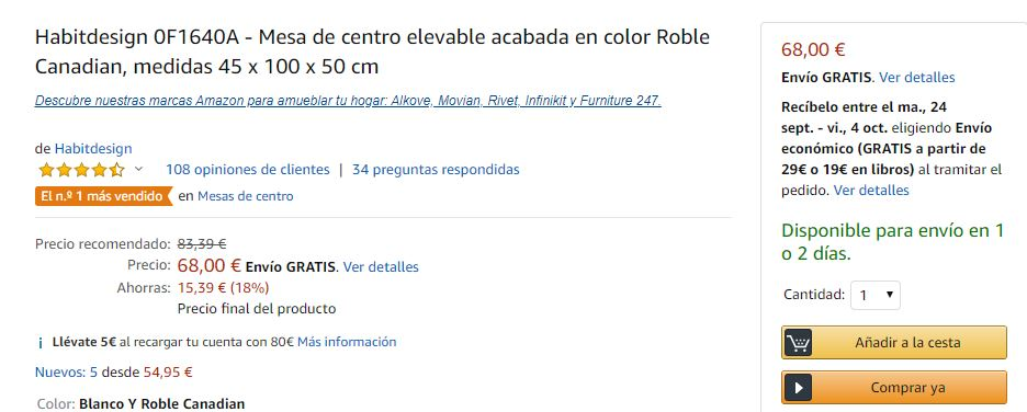 Opciones de envío en Amazon